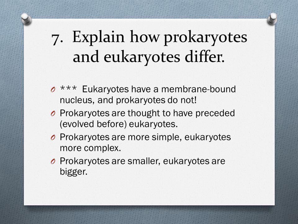 7. Explain how prokaryotes and eukaryotes differ.