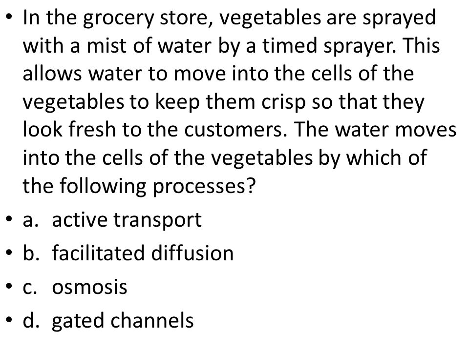 In the grocery store, vegetables are sprayed with a mist of water by a timed sprayer. This allows water to move into the cells of the vegetables to keep them crisp so that they look fresh to the customers. The water moves into the cells of the vegetables by which of the following processes