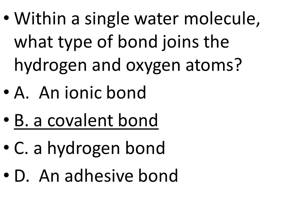 Within a single water molecule, what type of bond joins the hydrogen and oxygen atoms