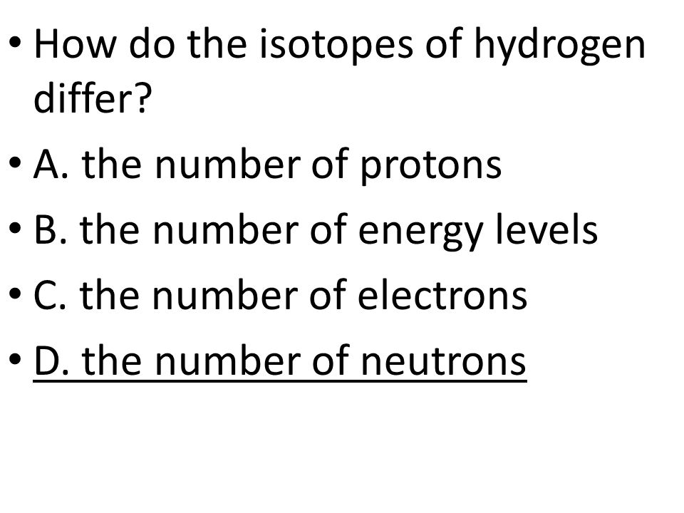 How do the isotopes of hydrogen differ