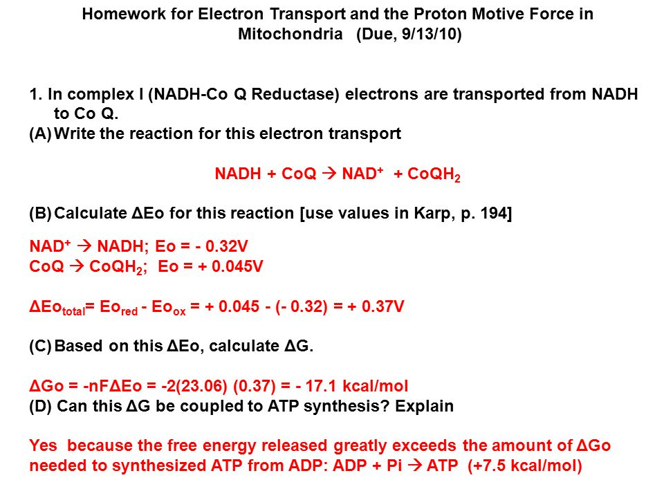 Homework for Electron Transport and the Proton Motive Force in Mitochondria (Due, 9/13/10)