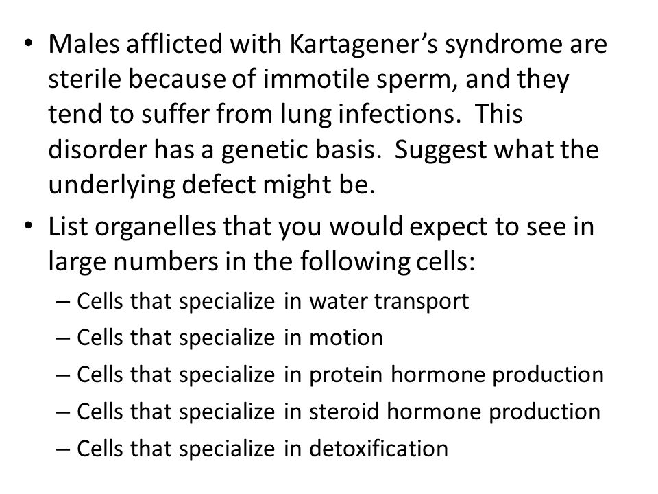 Males afflicted with Kartagener's syndrome are sterile because of immotile sperm, and they tend to suffer from lung infections. This disorder has a genetic basis. Suggest what the underlying defect might be.