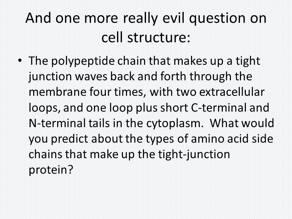 And one more really evil question on cell structure: