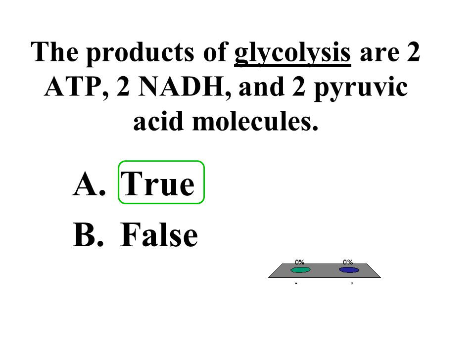 The products of glycolysis are 2 ATP, 2 NADH, and 2 pyruvic acid molecules.