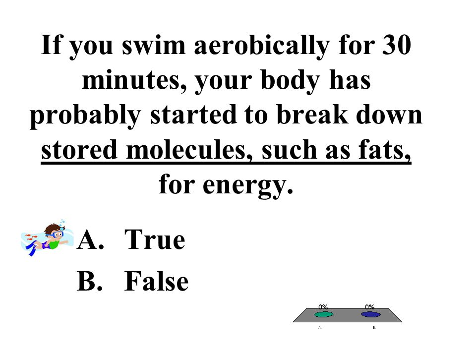 If you swim aerobically for 30 minutes, your body has probably started to break down stored molecules, such as fats, for energy.
