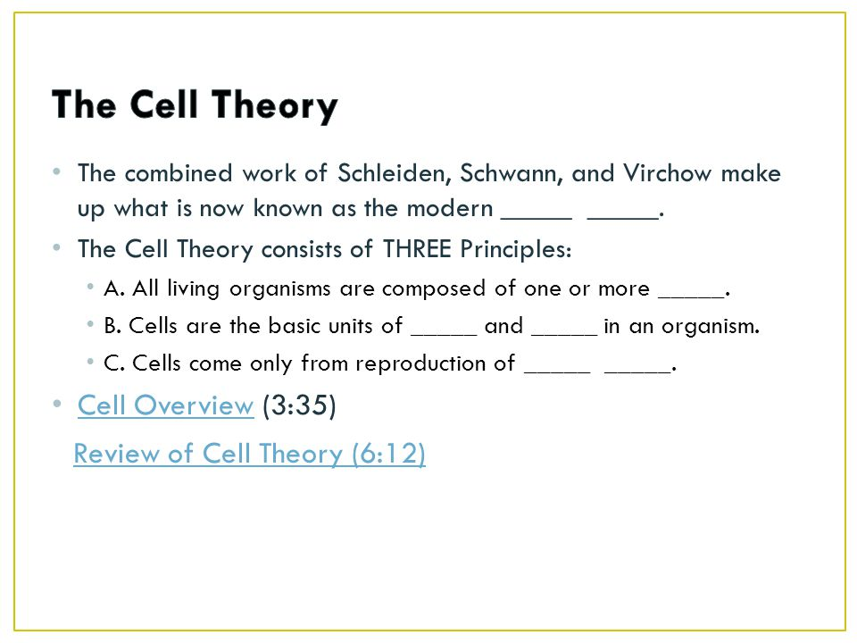 The Cell Theory Cell Overview (3:35) Review of Cell Theory (6:12)