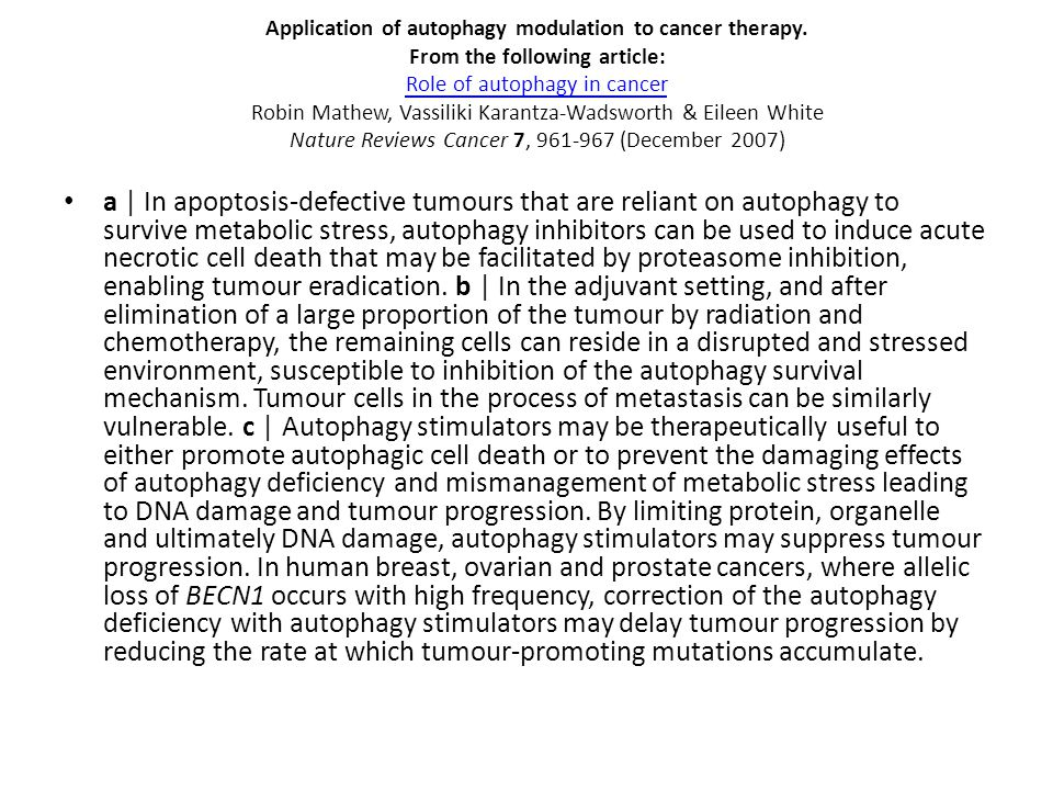 Application of autophagy modulation to cancer therapy