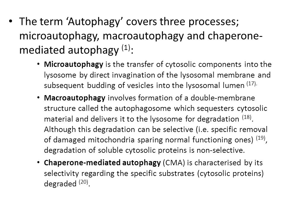 The term 'Autophagy' covers three processes; microautophagy, macroautophagy and chaperone-mediated autophagy (1):