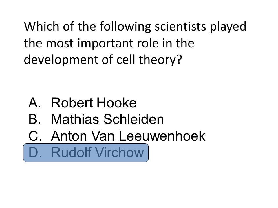Which of the following scientists played the most important role in the development of cell theory