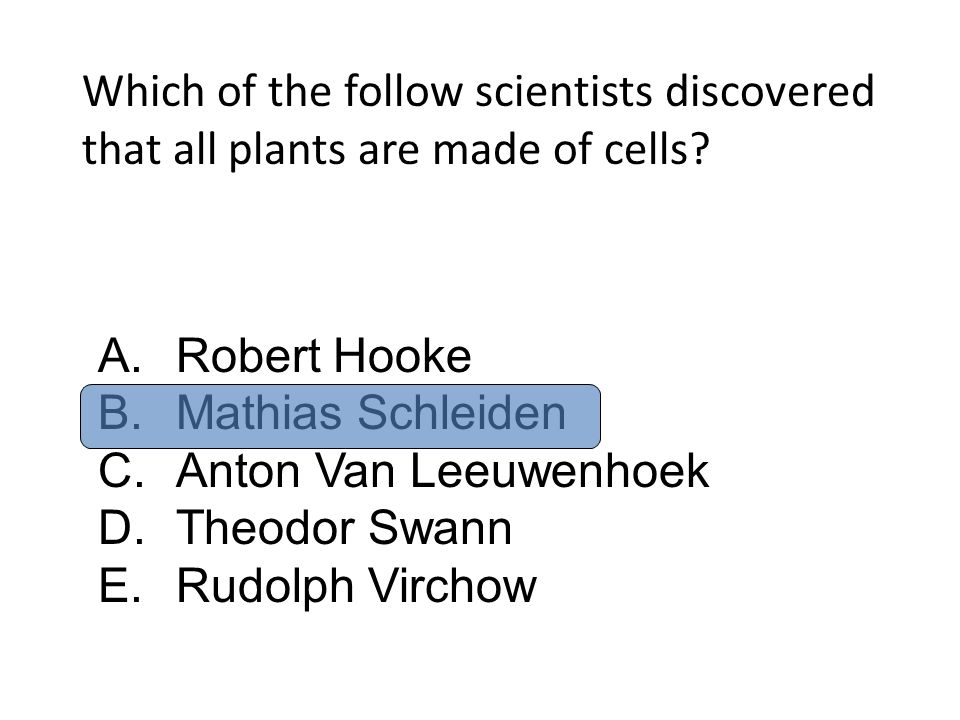 Which of the follow scientists discovered that all plants are made of cells