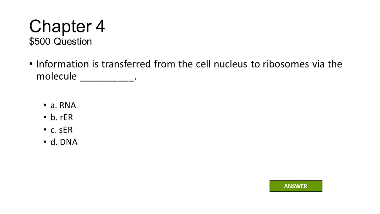 Chapter 4 $500 Question Information is transferred from the cell nucleus to ribosomes via the molecule __________.
