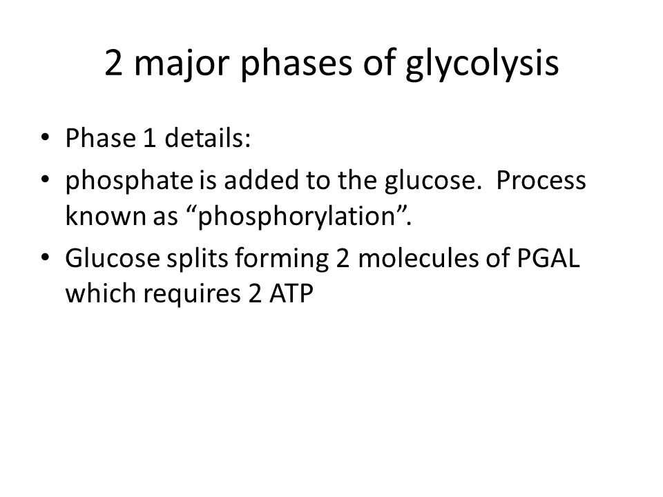 2 major phases of glycolysis