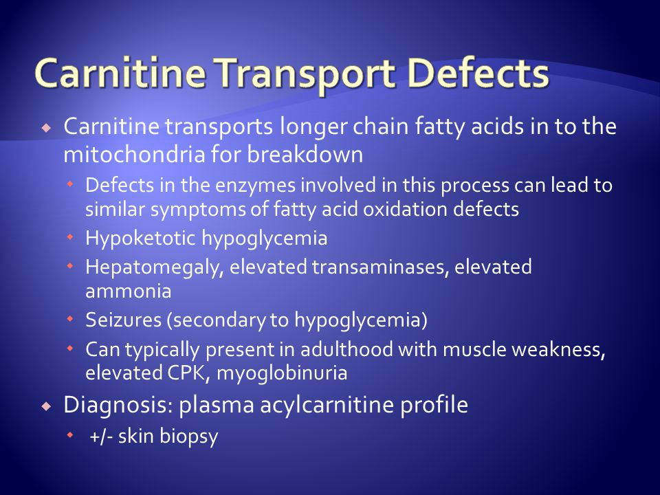 Carnitine Transport Defects