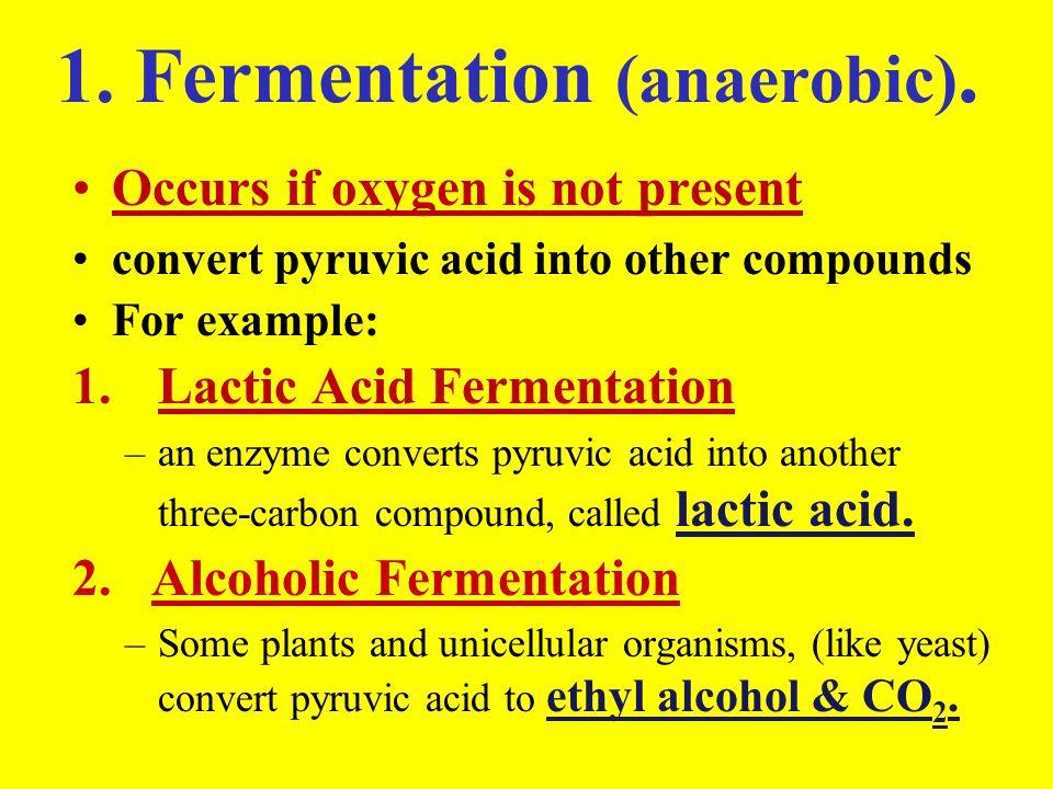 1. Fermentation (anaerobic).