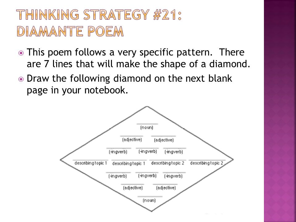 Thinking Strategy #21: Diamante Poem