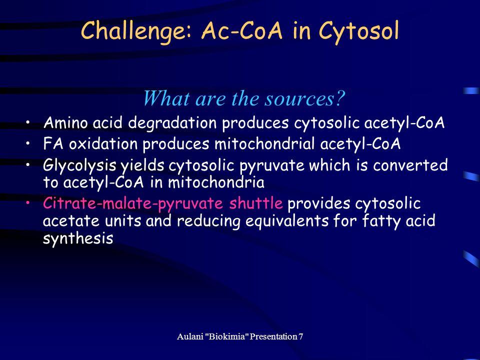 Challenge: Ac-CoA in Cytosol