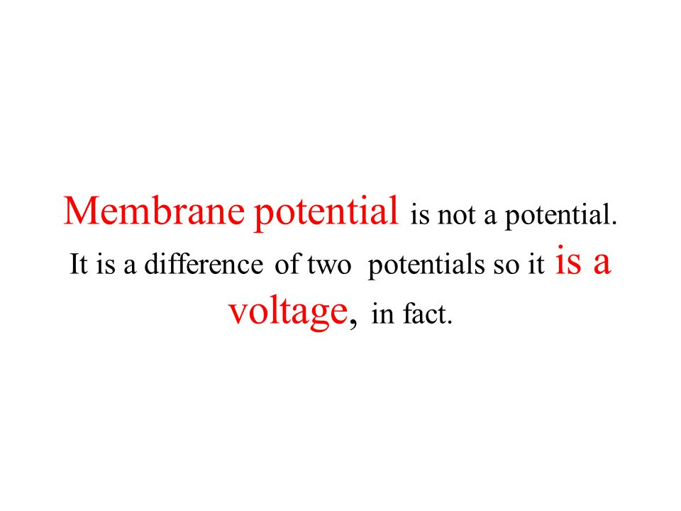 Membrane potential is not a potential