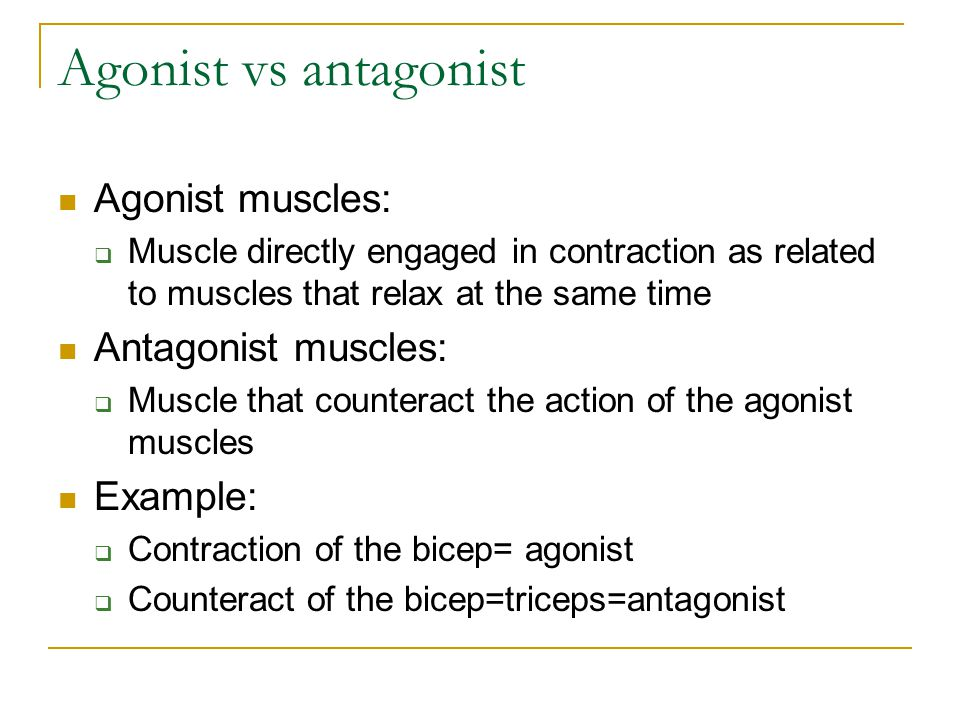 Agonist vs antagonist Agonist muscles: Antagonist muscles: Example: