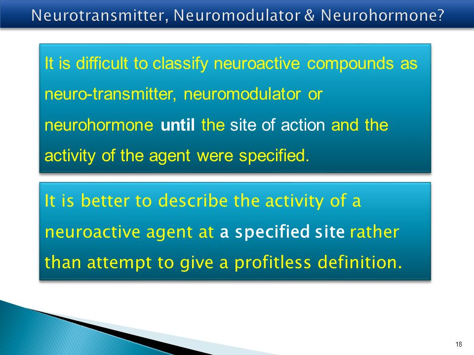Neurotransmitter, Neuromodulator & Neurohormone