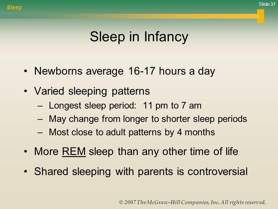 Sleep in Infancy Newborns average 16-17 hours a day