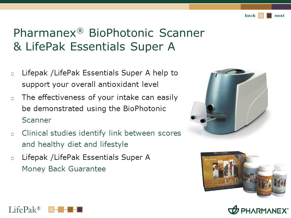 Pharmanex® BioPhotonic Scanner & LifePak Essentials Super A