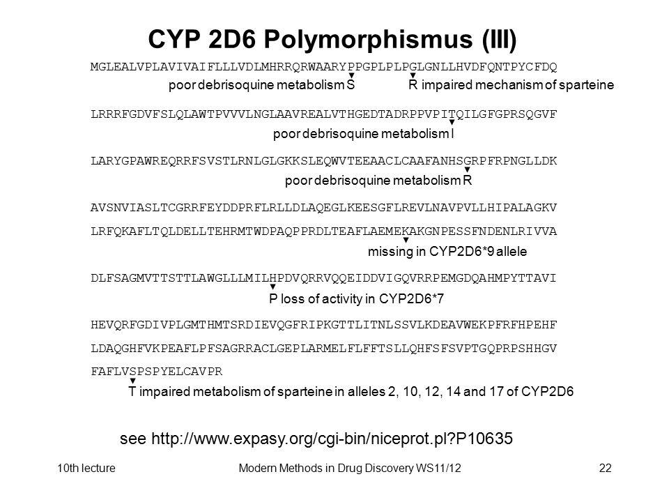 CYP 2D6 Polymorphismus (III)