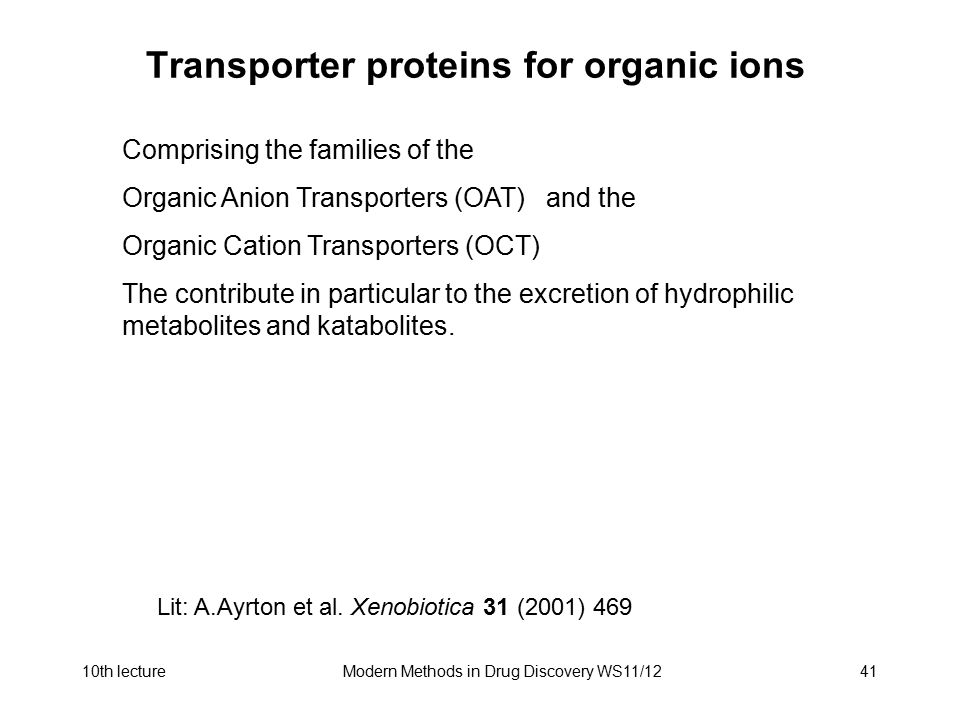 Transporter proteins for organic ions