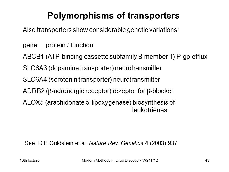 Polymorphisms of transporters