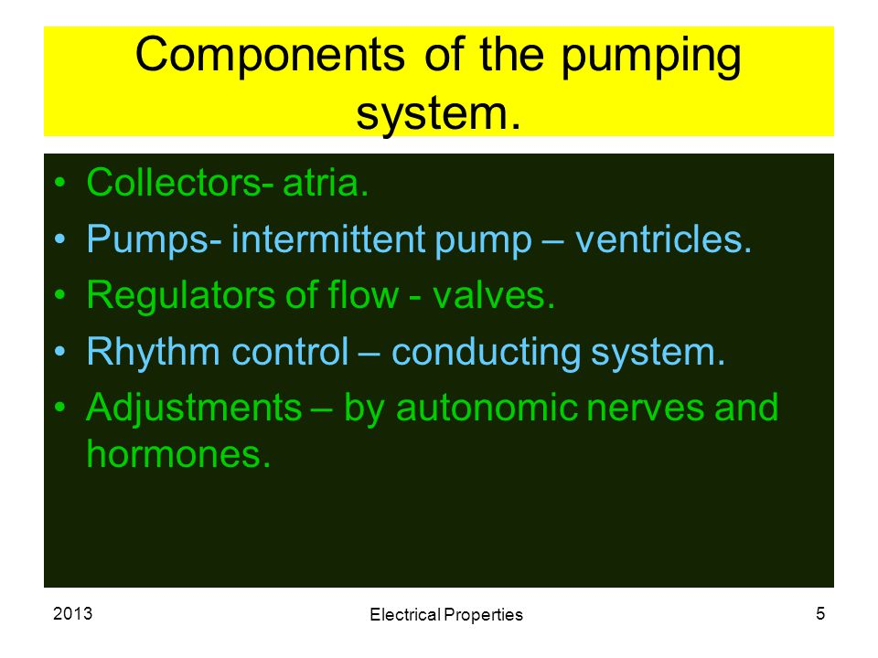 Components of the pumping system.