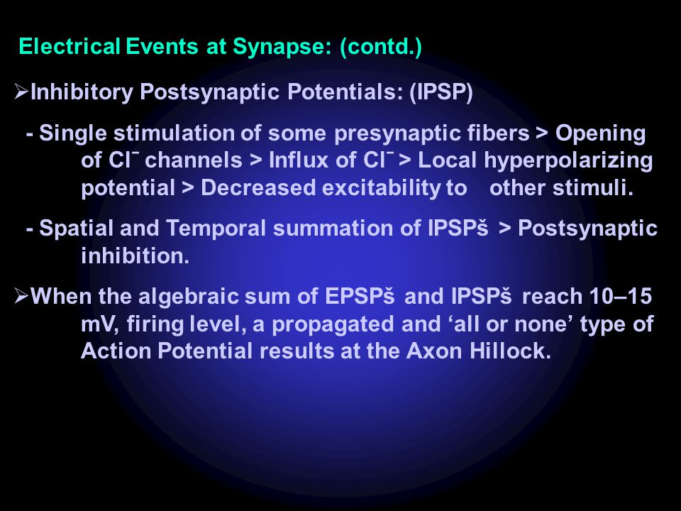 Electrical Events at Synapse: (contd.)