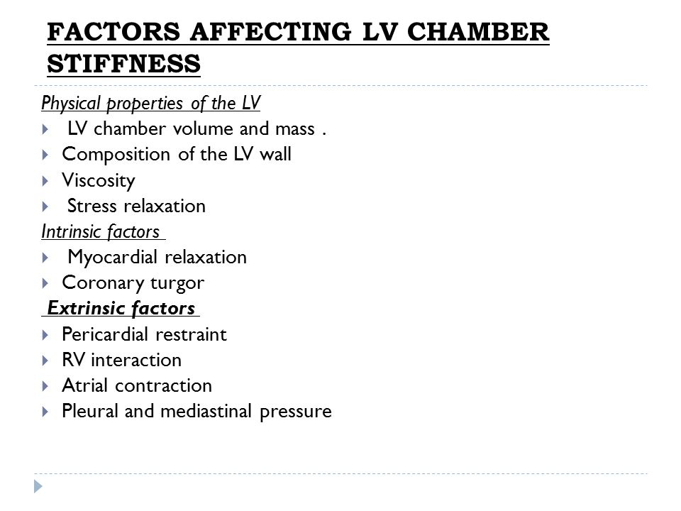 FACTORS AFFECTING LV CHAMBER STIFFNESS