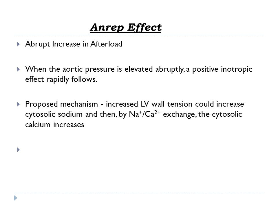 Anrep Effect Abrupt Increase in Afterload