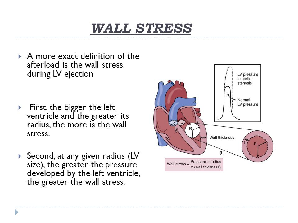 WALL STRESS A more exact definition of the afterload is the wall stress during LV ejection.