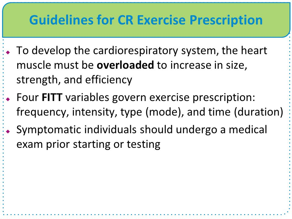Guidelines for CR Exercise Prescription