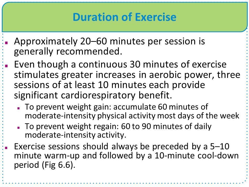 Duration of Exercise Approximately 20–60 minutes per session is generally recommended.
