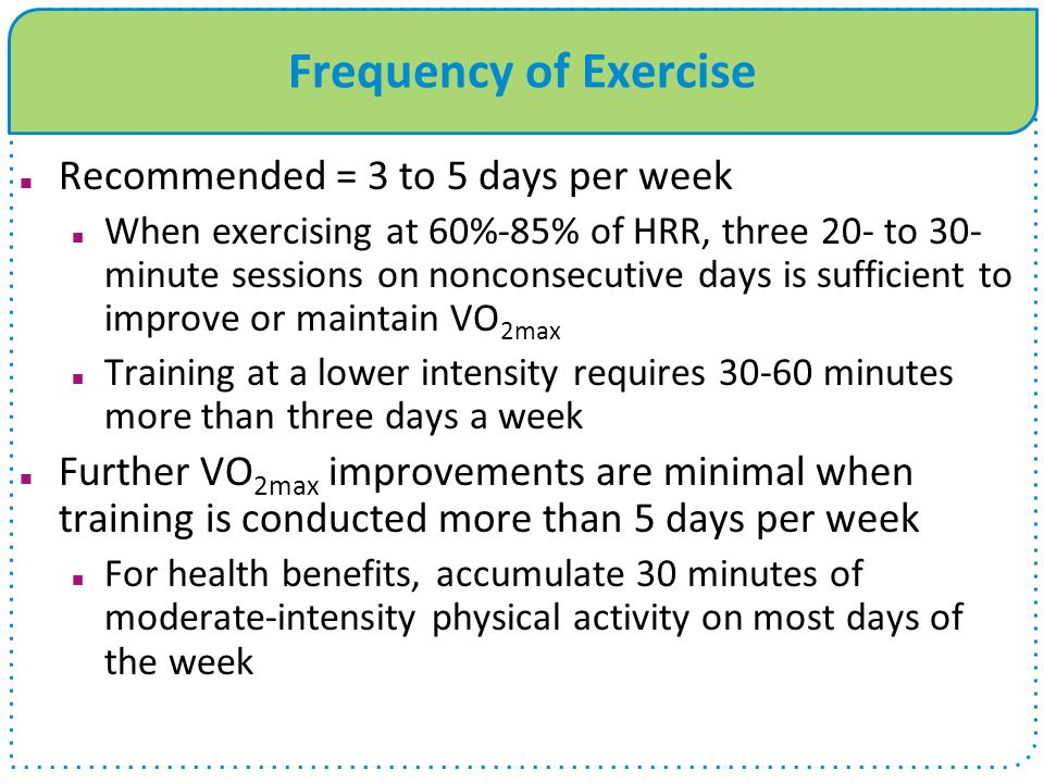 Frequency of Exercise Recommended = 3 to 5 days per week