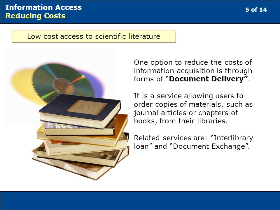 Low cost access to scientific literature