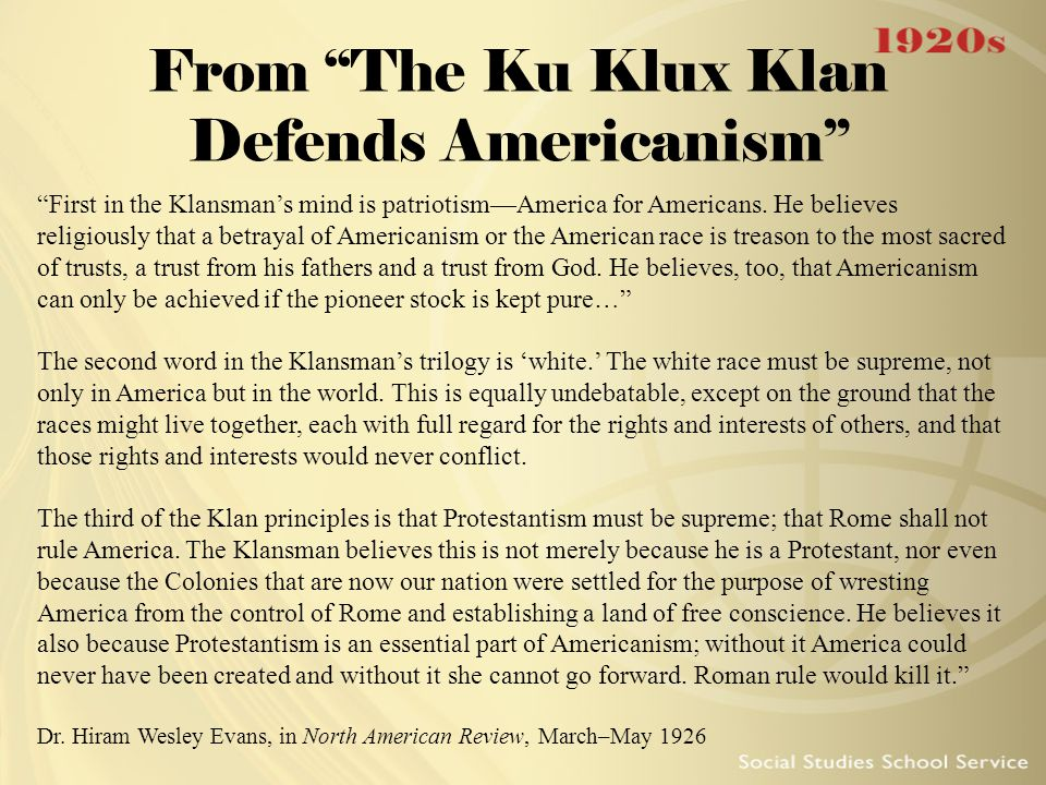 From The Ku Klux Klan Defends Americanism