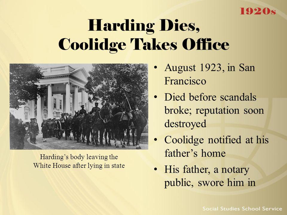 Harding Dies, Coolidge Takes Office