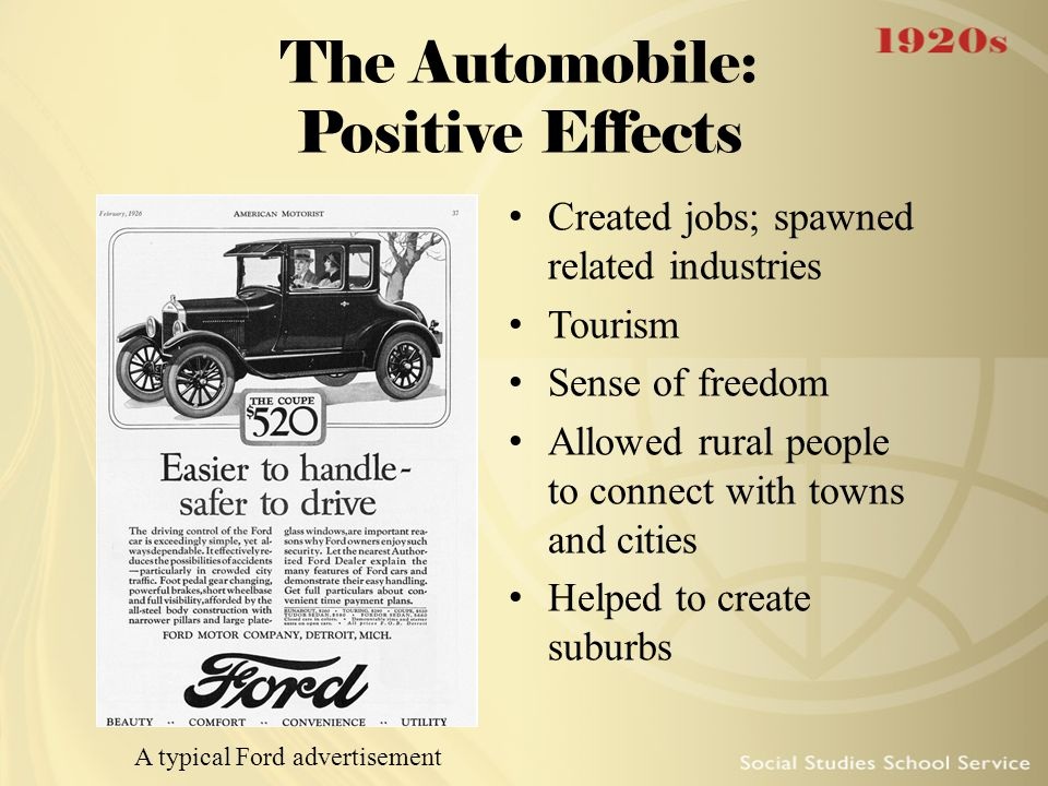 The Automobile: Positive Effects