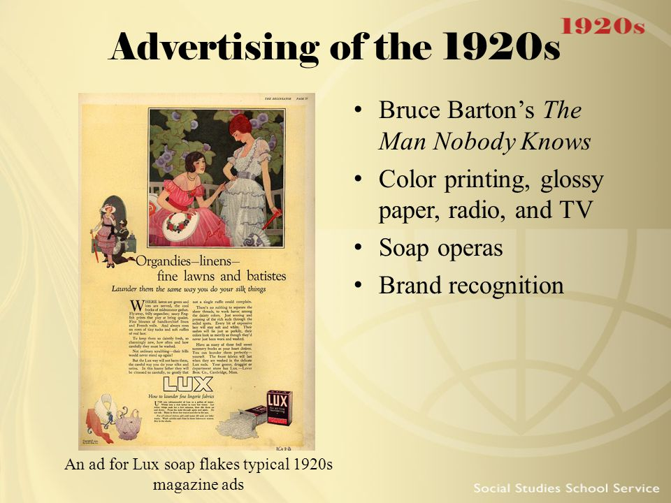 An ad for Lux soap flakes typical 1920s magazine ads
