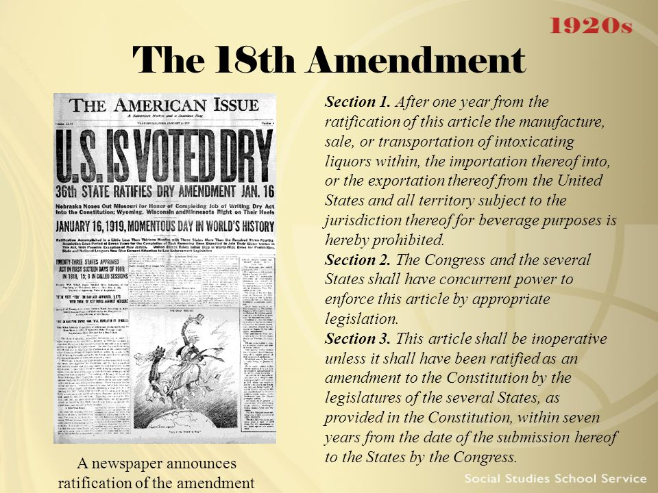 a description of the congress passed the eighteenth amendment to the constitution in 1917 Eighteenth amendment - us constitution  1933, the supreme court held that the national prohibition act, insofar as it rested upon a grant of authority to congress by the eighteenth amendment, thereupon become inoperative, with the result that prosecutions for violations of the national prohibition act, including proceedings on appeal.