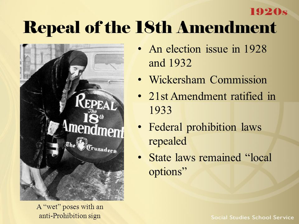 Repeal of the 18th Amendment