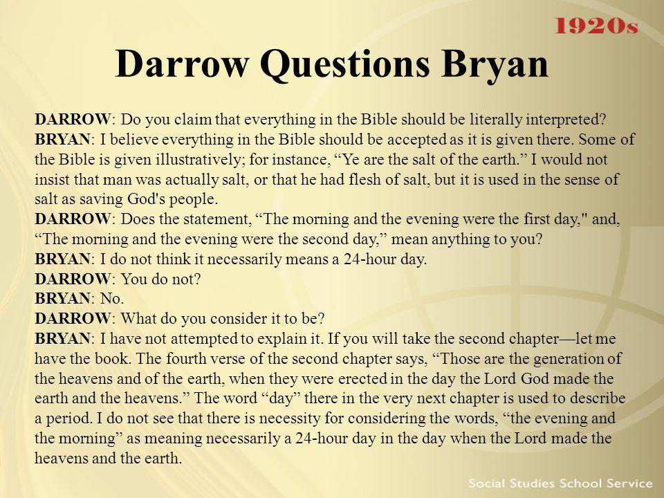 Darrow Questions Bryan