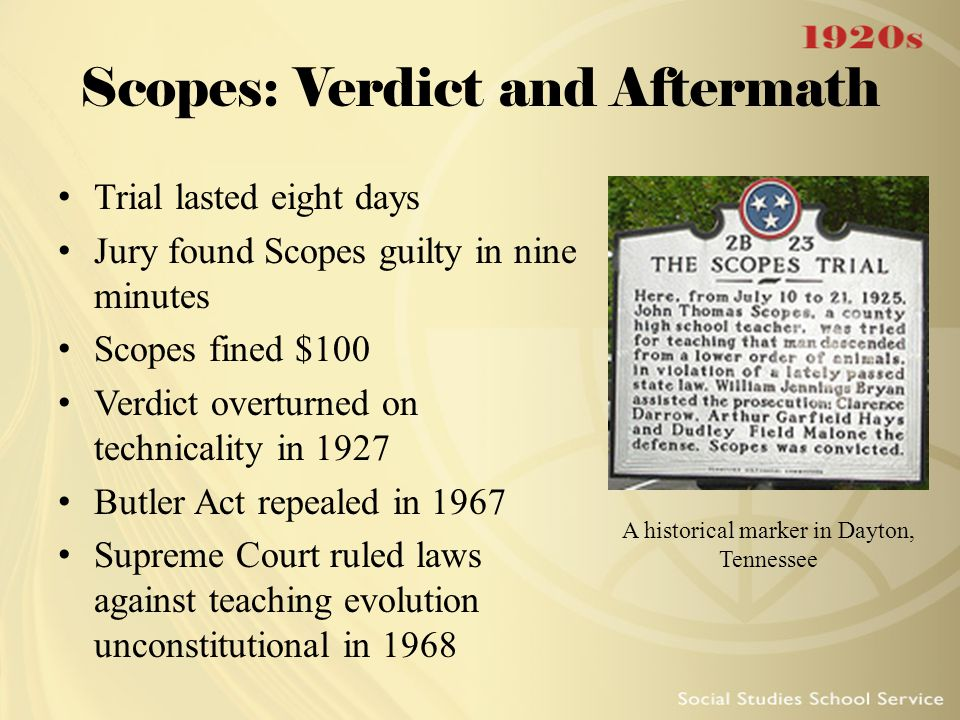 Scopes: Verdict and Aftermath