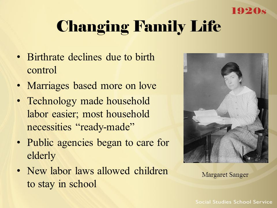 Changing Family Life Birthrate declines due to birth control