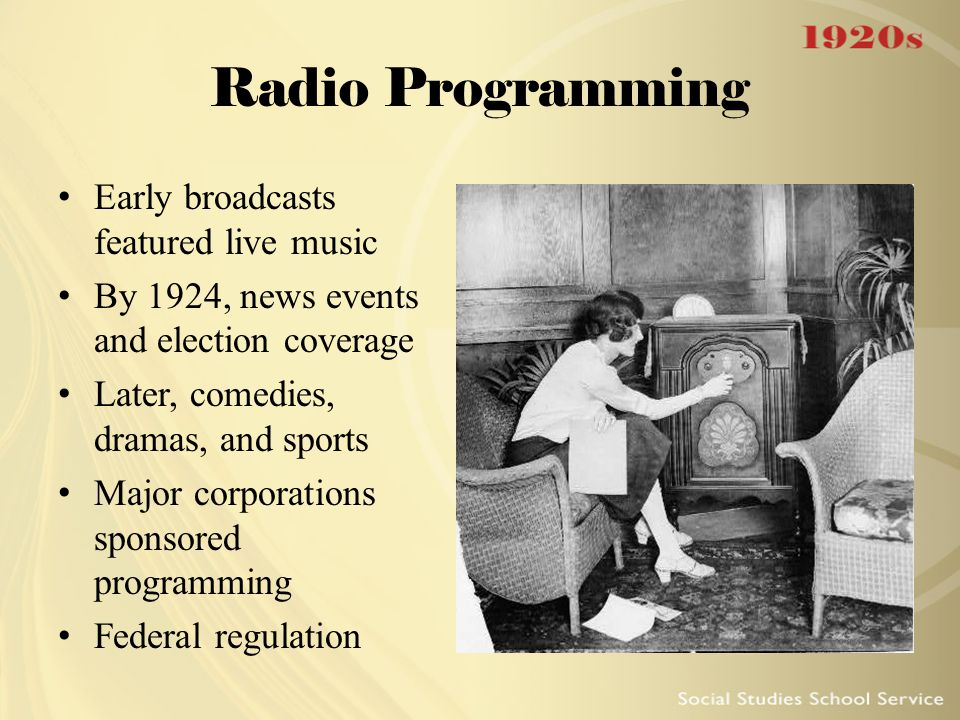 Radio Programming Early broadcasts featured live music