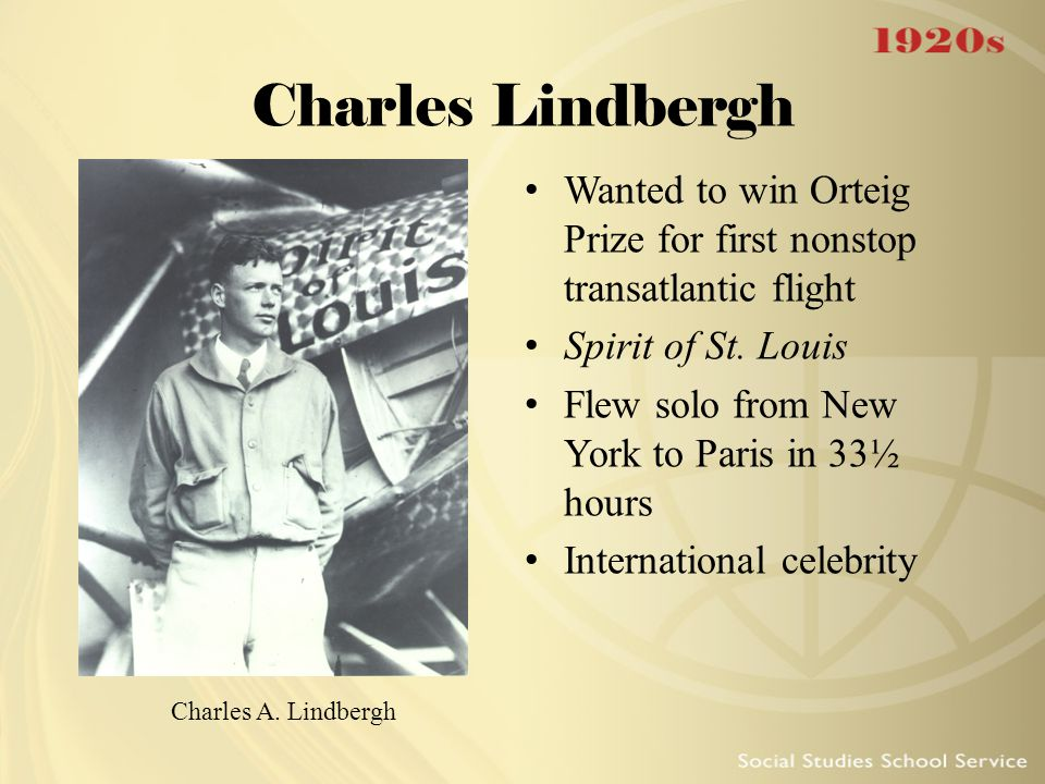 Charles Lindbergh Wanted to win Orteig Prize for first nonstop transatlantic flight. Spirit of St. Louis.