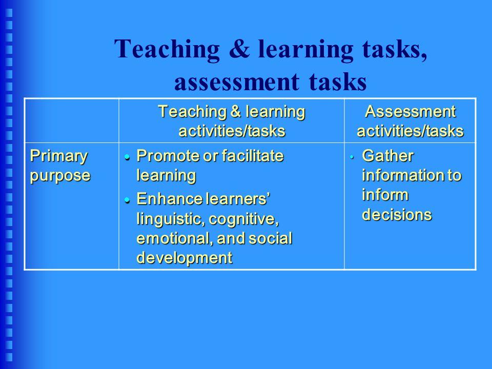 Teaching & learning tasks, assessment tasks