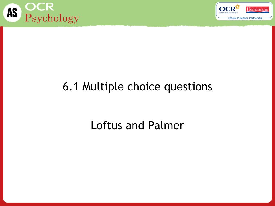6.1 Multiple choice questions